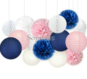 Sopeace White Navy Blue Pink 20cm 25cm Tissue Paper Pom Pom Paper Flowers Paper Honeycomb Paper Lanterns for Navy Blue Themed Party,Party Decoration Bridal Shower Decor Baby Shower Decoration