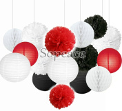 Sopeace 16 pcs Mixed Red Black White Party Decor Kit Paper lantern Paper Star Garland Tissue Pom Poms Hanging Flower Ball for Wedding,Birthday,Baby,Bridal Shower,Room decor & Themed Party Decor Favour