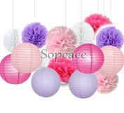 Sopeace Pack of 15 Pink Fuchsia Lavender Paper Lanterns Tissue Pom Poms Flower Home Party Wedding Valentines Nursery Hanging Decor