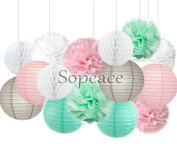 Sopeace Mint Green Pink Grey Decorative Paper Party Pack (15pcs) Paper Lanterns and Pom Pom Balls