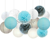 Sopeace White Baby Blue Grey Tissue Paper Pom Pom Paper Lanterns Circle Paper Garland Mixed Package for Purple Themed Party Wedding Paper Garland, Bridal Shower Decor Purple Baby Shower Decoration