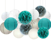 Sopeace White Teal Blue Grey Party Decoration Kit Tissue Paper Pom Pom Honeycomb Ball and Paper Lantern for Girls' Birthday Wedding Decoration Pink Baby Shower Room Decoration Party Favours