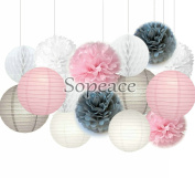 Sopeace White Pink Grey 20cm 25cm Tissue Paper Pom Pom Paper Flowers Paper Honeycomb Paper Lanterns for Navy Blue Themed Party,Party Decoration Bridal Shower Decor Baby Shower Decoration