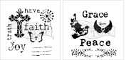 The Crafter's Workshop Set of 2 Bible Journaling Stencils – Have Faith (TCW701s) and Peace Doves (TCW702s) 15cm x 15cm - Bundle 2 Items
