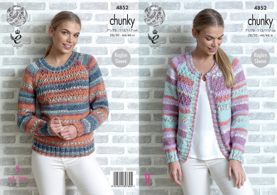 King Cole Womens Chunky Knitting Pattern Ladies Raglan Sleeve Lace Sweater & Cardigan (4852)