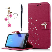 Galaxy S8 Plus Case, YOKIRIN Luxury 3D Handmade Bling Crystal Rhinestone Embossed Floral Butterfly PU Leather with Wrist Strap Stand Credit Card ID Holders Wallet Cover & Dust Plug, Stylus Pen,Rose