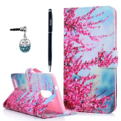ZTE ZMAX Pro Case, ZTE Carry Z981 Case, YOKIRIN Printed Pink Flower Pattern Wrist Strap Flip Kickstand PU Leather Wallet Cover with ID & Credit Card Pockets Ultra-Strong Magnetic Closure Skin