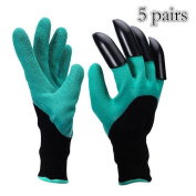 Garden Genie Gloves, Right Hand Fingertips ABS Plastic Claws for Pruning, Digging & Planting 5 Pairs