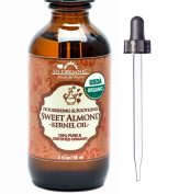 New_US Organic Sweet Almond Kernel Oil, USDA Certified Organic,100% Pure & Natural, Cold Pressed Virgin, Unrefined in Amber Glass Bottle w/ Glass Eyedropper for Easy Application (2 oz
