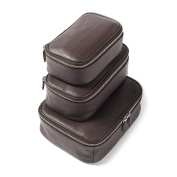 Leatherology Nested Travel Organiser Trio - Full Grain Leather Leather - Chocolate Brown
