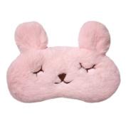 sea-junop Eye Mask with 3D Rabbit Face Eye Bags Adjustable Silk Sleeping Blindfold