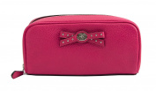 Coch 65539 Amaranth Leather Turnlock Bow Cosmetic Case