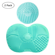 V-noah 2 Pcs Silicone Brush Cleaners Make Up Washing Brush Cleaner pad Makeup Brushes Cleaning Mat with Suction Cup Scrubber Board Cosmetic Clean Tools
