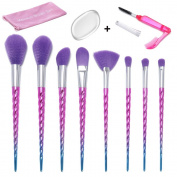 Makeup Brushes Set, 1PCS Silicone Makeup Sponge + 1PCS Lash Brush + 8PCS Unicorn Shape Soft Purple Bristle Makeup Brushes Foundation Blending Eyeshadow Blush Cosmetic Brushes Kit By Beauty Star
