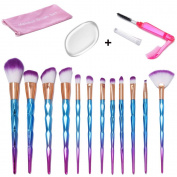 Makeup Brushes Set, 1PCS Silicone Makeup Sponge + 1PCS Lash Brush + 12PCS Colourful Diamond Handle Cosy Soft Makeup Brushes Foundation Blending Eyeshadow Blush Cosmetic Brushes Kit By Beauty Star