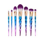 V-noah 7 Pcs Makeup Brush Set Professional Unicorn Rainbow Foundation Blush Eyebrow Eyeshadow Powder Cosmetic Brushes Tools