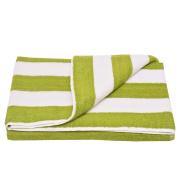 Oxford Girls Green White Stripe Pattern Bath Sheet Beach Towel 80cm x 170cm