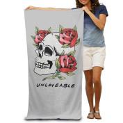 Red Roses Skull Skeleton Unloveable Beach Towels Cool Beach Towels For Adults Beach Towel For Women Beach Towel For Men