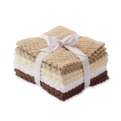 8 Pack Popcorn Texture Terry Wash Cloths Rags Brown Beige Tan White