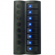Iztor Splash-proof Black 8 Gang Blue LED Marine Boat Caravan Rocker Switch Panel