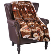 BOON Faux Fur Southwest Throw with Sherpa Backing, 150cm x 200cm , Coffee