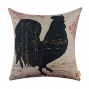 LINKWELL 46cm x 46cm Vintage Looking Farmhouse Rooster Country Burlap Pillowcase Throw Cushion Cover