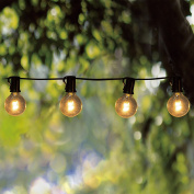 Goothy Globe String Lights with G40 Bulbs (7.6m) UL Listed Backyard Patio Lights Garden Bistro Party Natural Warm Bulbs Cafe Hanging Umbrella Lights on Light String Indoor Outdoor-Black