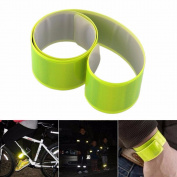 CSYSX (Pack of 2) Cycling Bicycle Reflective Beam Belt Safety Leg Pants Clip Strap Beam Band Bottom Belt Lightweight