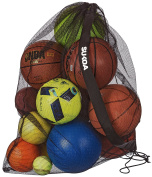 Sukoa Sports Mesh Ball Bag – Extra Large Heavy Duty Jumbo Size with Shoulder Strap - For Soccer, Basketball, Volleyball, Football and the Beach