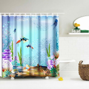 Kingfansion Digital Print Waterproof And Mildewproof Shower Curtain Size 180x180CM