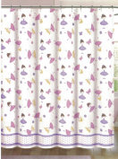 Authentic Kids Girls Dancing Ballerinas with Butterflies and Flowers Shower Curtain 180cm x 180cm