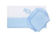 "BlueberryShop Luxury Emboidered Cotton Pram Crib Moses Basket 2pc Set Quilt & Pillow (29.5"" x 25.5"") ( 0-12 m ) ( 75 x 65 cm ) Blue Sky"