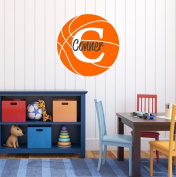 Nursery Wall Decals Basketball Name and Initial Personalised Name Wall Decal 36cm by 36cm , Boys or Girls Nursery Sports Decals, Basketball Wall Decals, Sports Wall Stickers, PLUS FREE HELLO DOOR DECAL