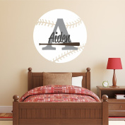 Nursery Wall Decals Baseball Name and Initial Personalised Name Wall Decal 36cm by 36cm , Boys or Girls Nursery Sports Decals, Baseball Wall Decals, Sports Wall Stickers, PLUS FREE HELLO DOOR DECAL