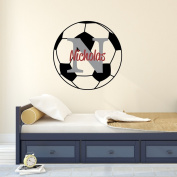 Nursery Wall Decals Soccer Name and Initial Personalised Name Wall Decal 36cm by 36cm , Boys or Girls Nursery Sports Decals, Soccer Wall Decals, Sports Wall Stickers, PLUS FREE HELLO DOOR DECAL
