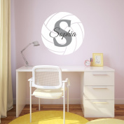 Nursery Wall Decals Volleyball Name and Initial Personalised Name Wall Decal 36cm by 36cm , Boys or Girls Nursery Sports Decals, Volleyball Wall Decals, Sports Wall Stickers, PLUS FREE HELLO DOOR DECAL