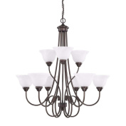 Capital Lighting 3229BZ-220 HomePlace - Nine Light Chandelier, Bronze Finish with White Alabaster Glass