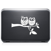 Cute Owls Tree Branch REMOVABLE Vinyl Decal Sticker For Laptop Tablet Helmet Windows Wall Decor Car Truck Motorcycle - Size (07 Inch / 18 Cm Wide) - Colour