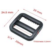 """25pcs 3/4""""(20mm)Plastic Tri-glide/Triglide Slides for Belt Backpack Black"""