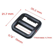 30pcs 1.6cm Plastic Tri-glide/Triglide Slides for Belt Backpack Black