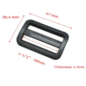 10pcs Plastic Curve Slider Tri-Glide Adjust Tri-ring Buckles For Dog Collar Harness Backpack Straps Black (1-1/2""