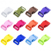 Craft County 60 PCS 12 Colour Pack 1.6cm Plastic Quick Side Release Buckle