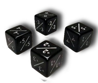 Set of 4 MTG +1/+1 And -1/-1 Counter Dice Combo Pack (Black)