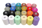 SEWING AID All Purpose Polyester Sewing Threads in 24 Assorted Colours, 1000 yds Each Spool