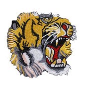 1piece Yellow Tiger Head Lace Applique Patches Lace Embroidery Fabric Patches Embossed Clothes Decorated Craft Sewing TH407