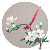 No Glue Magnolia Flower And Bird Embroidery Patchs Applique Garment For Clothes Decals Large Patchs Clothing DIY Accessories