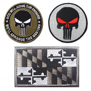 Embroidery MARYLAND State Flag and Punisher Tactical patches
