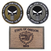 Embroidery USA OREGON State Flag and Punisher Tactical patches