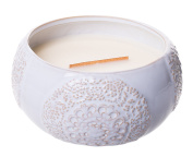 Woodwick Premium HearthWick Flame Scented Candle - Vintage Lace Collection - Vanilla Bean