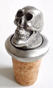 Grinning Skull Cross Cork & Pewter Wine Spirits Bottle Stopper Stop